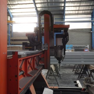 A manufacturing machine in a temporary workshop solution