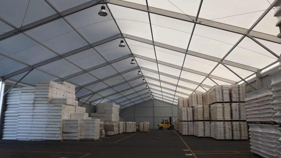 shot two of temporary warehouse build showing stock inside for temporary storage solutions temporary storage buildings