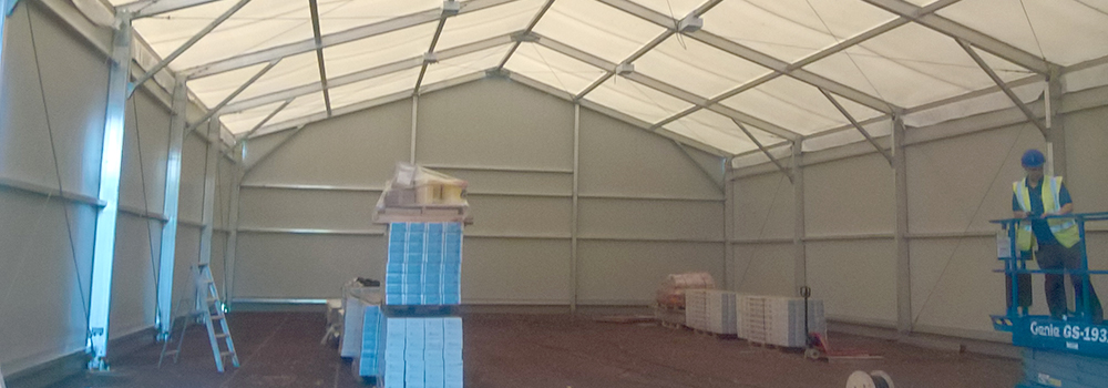 The inside of a new temporary building