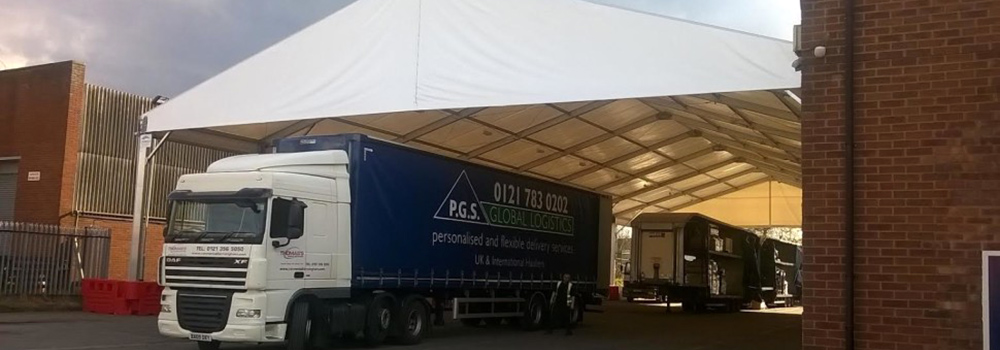 Lorry under a canopy
